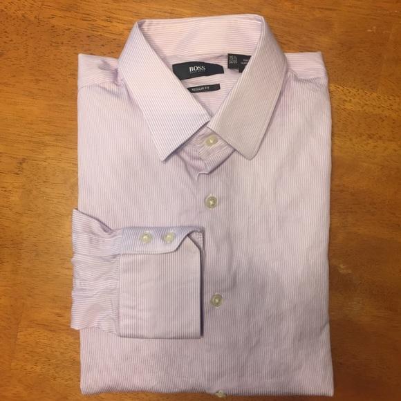 5a201b2b Hugo Boss Shirts | Boss By Purple White Striped Dress Shirt | Poshmark